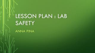 Lesson  plan : lab safety