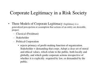 Corporate Legitimacy in a Risk Society