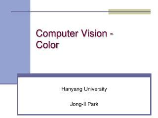 Computer Vision - Color
