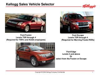 Kellogg Sales Vehicle Selector