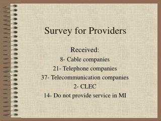 Survey for Providers