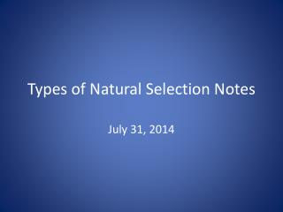 Types of Natural Selection Notes