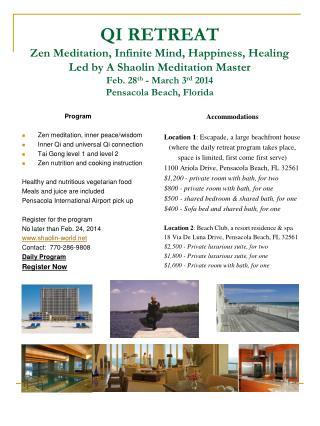 Program Zen meditation, inner peace/wisdom Inner Qi and universal Qi connection