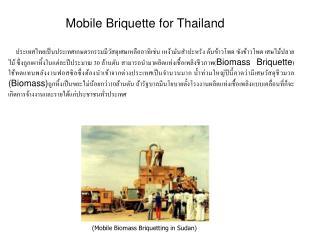 (Mobile Biomass Briquetting in Sudan)