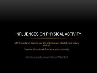 Influences on Physical Activity