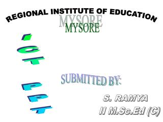 REGIONAL INSTITUTE OF EDUCATION