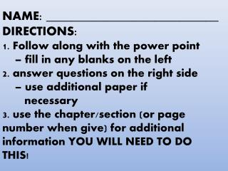 Student direction slide you can move around & include at the beginning if/when you print