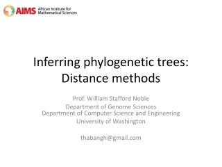 Inferring phylogenetic trees: Distance methods