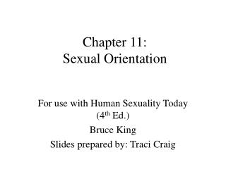 Chapter 11:  Sexual Orientation