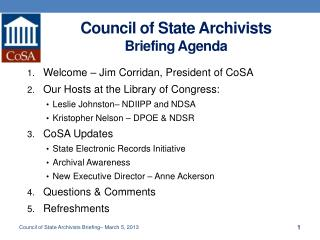 Council of State Archivists  Briefing  Agenda
