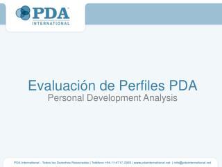 Evaluación de Perfiles PDA Personal Development Analysis