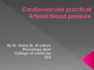 Cardiovascular practical Arterial blood pressure