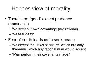 Hobbes view of morality