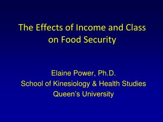 The Effects of Income and Class on Food Security