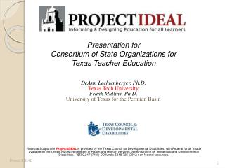 Presentation for Consortium of State Organizations for  Texas Teacher Education