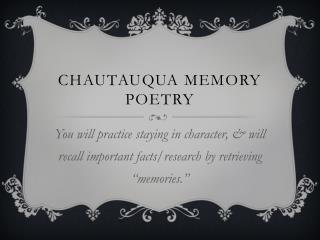 Chautauqua Memory Poetry