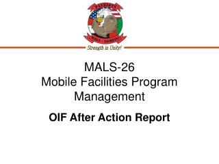 MALS-26  Mobile Facilities Program Management