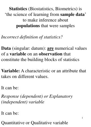 Statistics  (Biostatistics, Biometrics)  is 'the  science of learning from  sample data '