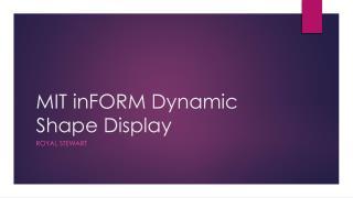 MIT  inFORM  Dynamic Shape Display