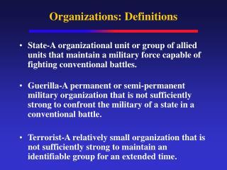 Organizations: Definitions