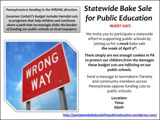 Statewide Bake Sale  for Public Education