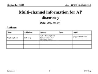 Multi-channel information for AP discovery