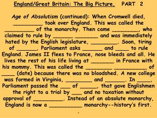 England/Great Britain: The Big Picture,    PART  2