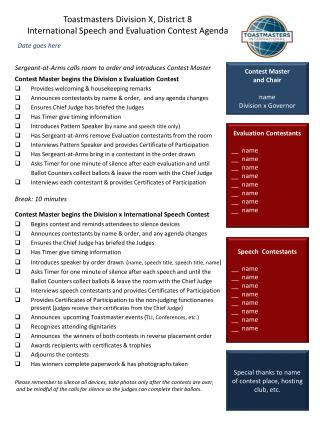 Toastmasters Division X, District 8 International Speech and Evaluation Contest Agenda