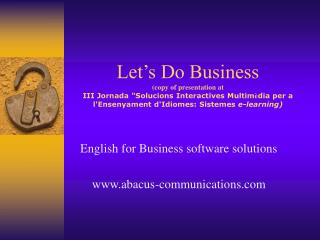 English for Business software solutions abacus-communications