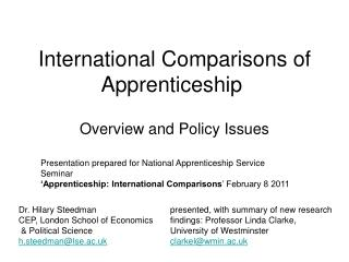 International Comparisons of Apprenticeship