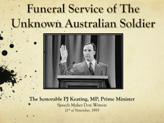Funeral Service of The Unknown  Australian Soldier