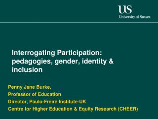 Interrogating Participation: pedagogies, gender, identity & inclusion