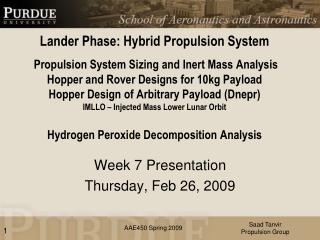 Week 7 Presentation Thursday, Feb 26, 2009