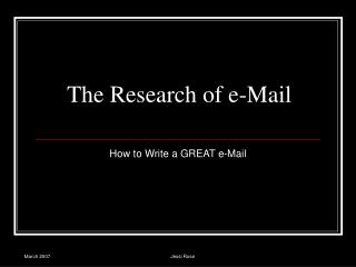 The Research of e-Mail