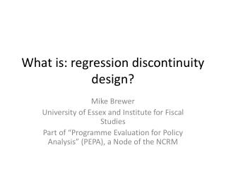 What is: regression discontinuity design?