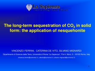 The long-term sequestration of CO 2  in solid form: the application of  nesquehonite
