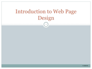 Introduction to Web Page Design