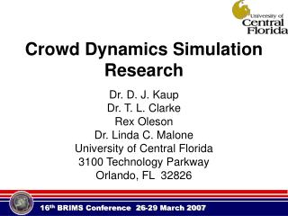 Crowd Dynamics Simulation Research