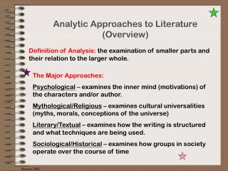 Analytic Approaches to Literature Overview