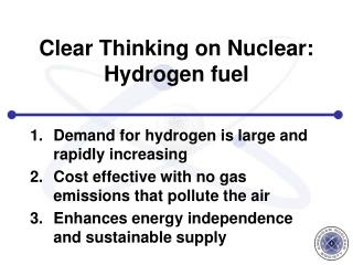 Clear Thinking on Nuclear: Hydrogen fuel