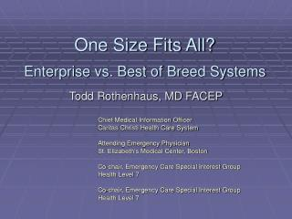 One Size Fits All? Enterprise vs. Best of Breed Systems