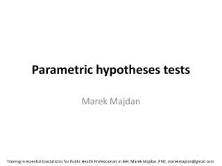 Parametric hypotheses tests