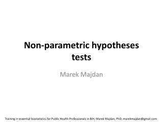 Non-parametric hypotheses tests