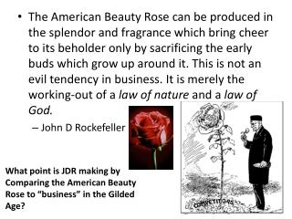 "What point is JDR making by Comparing the American Beauty Rose to ""business"" in the Gilded  Age?"
