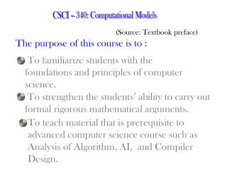 CSCI – 340: Computational Models