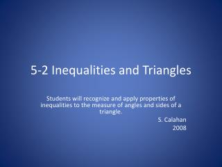 5-2 Inequalities and Triangles