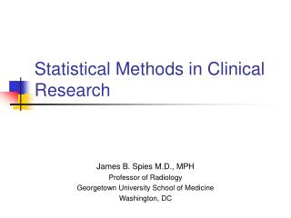 Statistical Methods in Clinical Research