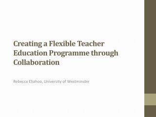 Creating a Flexible Teacher Education Programme through Collaboration