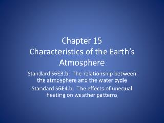 Chapter 15  Characteristics of the Earth�s Atmosphere