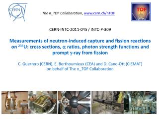The  n_TOF  Collaboration ,  cern.ch/nTOF